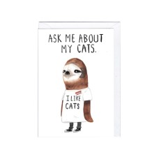 "Postkaart ""Ask me about my cats..."""