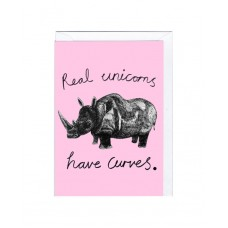 "Postkaart ""Real unicorns have curves"""